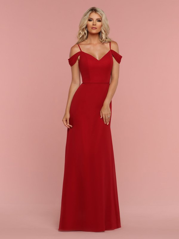 65796eef48d7 DaVinci Bridesmaids Style #60331: Chiffon A-Line Bridesmaid Dress with Tailored  Bodice, Sweetheart Neckline, V-Back, Narrow Straps & Pleated Off the ...