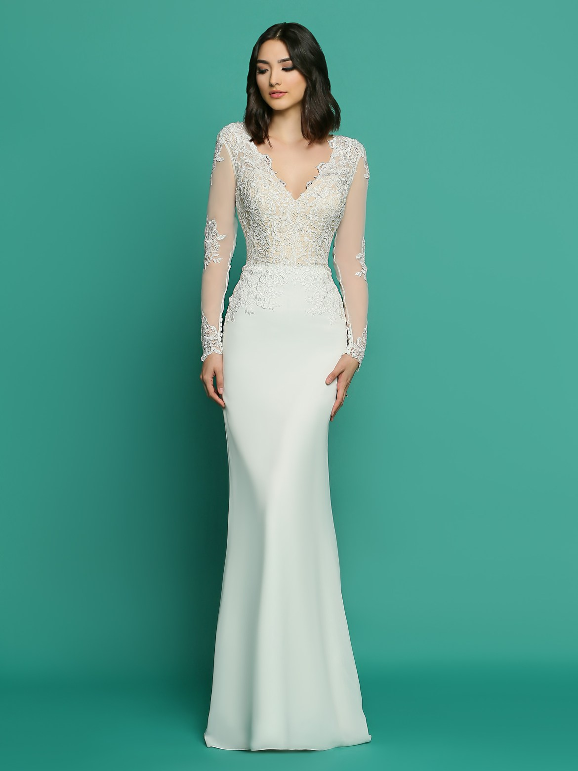 b3f672dbef27 DaVinci Informal Style #F7057 Chiffon & Lace A-Line Sheath, V-Neck Lace  Bodice, Long Sheer Lace Applique Sleeves, Deep Open Scoop Back, Sweep Train