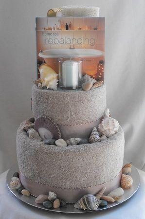 Beach Theme Spa Day Bridal Shower Towel Cake
