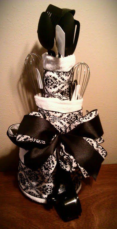 Black & White Bridal Shower Towel Cake