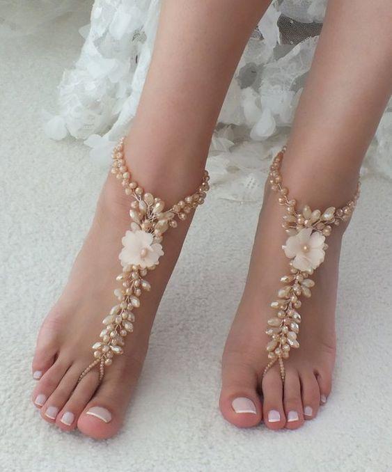4f1ac562a7d11f Elegant Barefoot Wedding Sandals for Beach