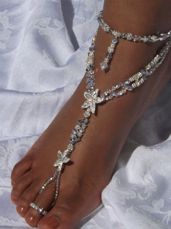 61d68cdd1bebe Elegant Barefoot Wedding Sandals for Beach
