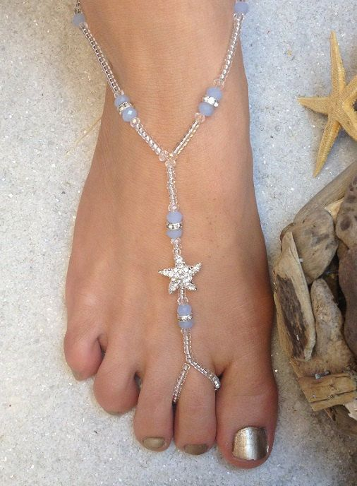 5e2a15bfd128d Delicate baby blue beads with starfish charm from Etsy