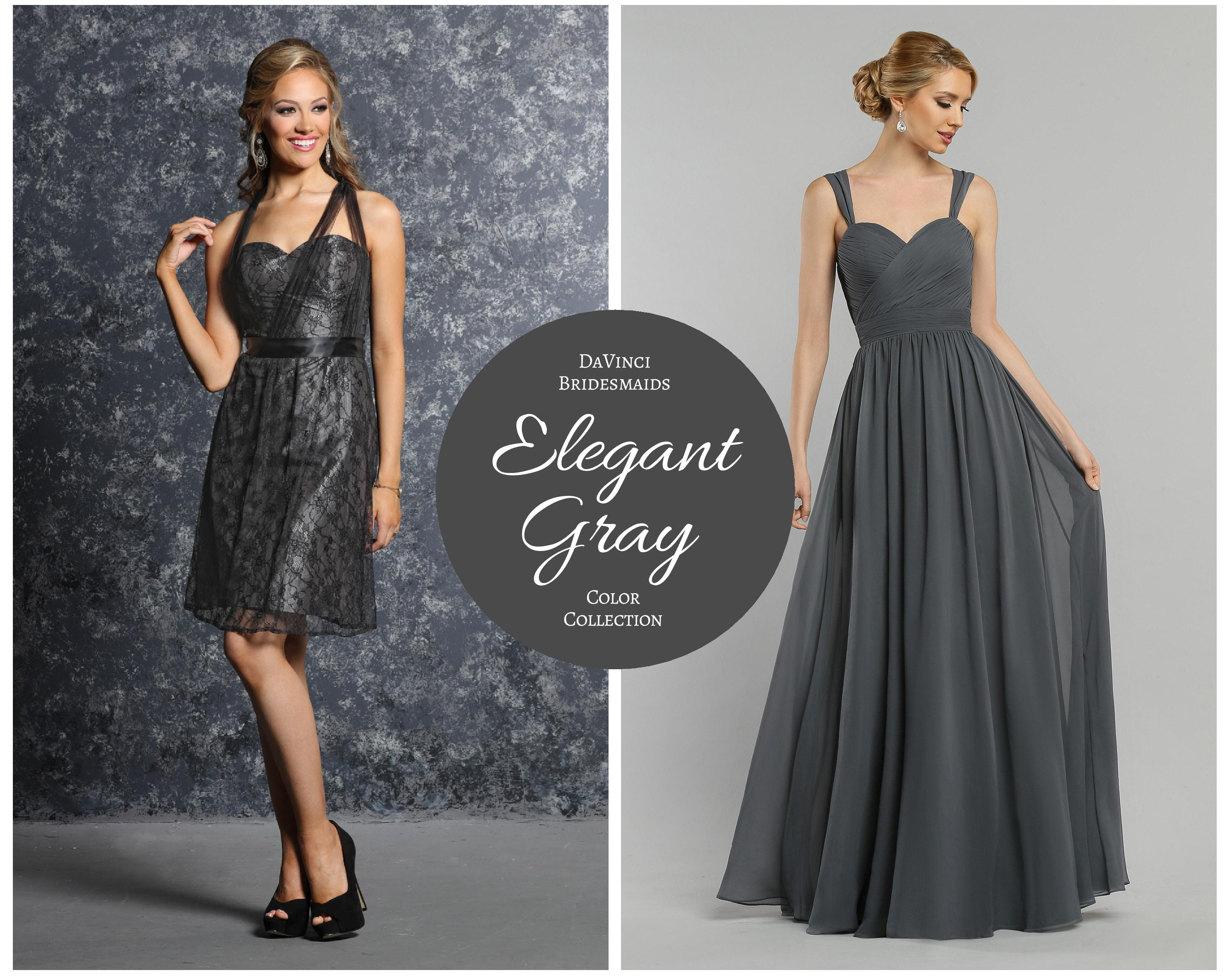 Elegant Gray Bridesmaids Gowns - DaVinci Bridal Blog