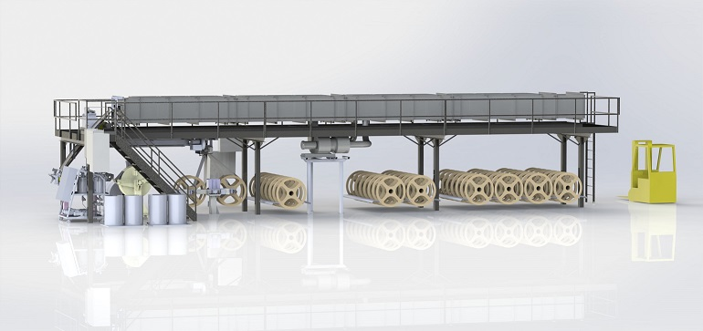 rendering of manufacturing and coating line for painter's tape