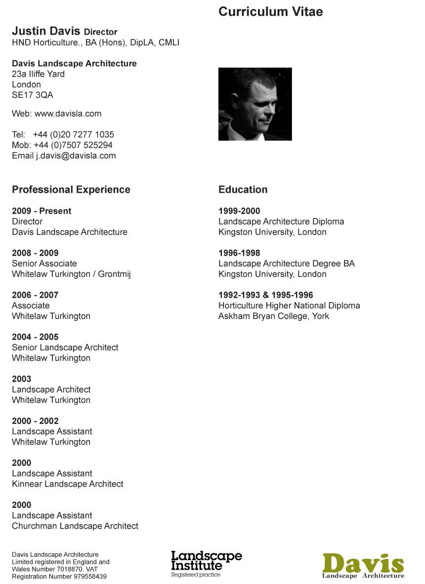 Our CV's Landscape Architect's Pages