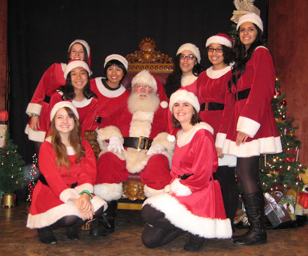 Santa and his Elves get ready for the hundreds of people coming to breakfast at the Davis Odd Fellows Lodge.