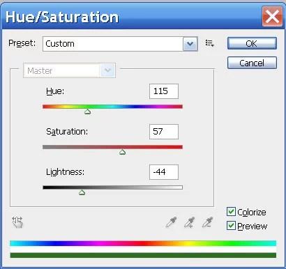 ფილტრი hue saturation