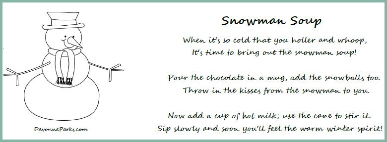 photograph about Snowman Soup Printable known as Absolutely free Snowman Soup Poem Printable - Davonne Parks