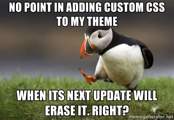 Penguin and a quote about custom CSS