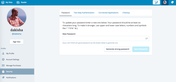 Change Password on WordPress.com