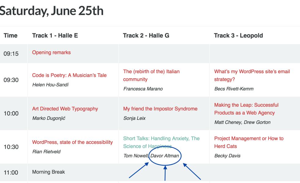 WC EU schedule