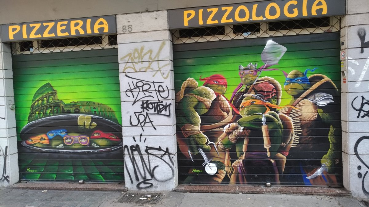 graffiti of ninja turtles on the wall