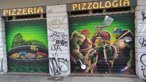graffiti of ninja turtles on the wall