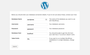 Setting up WordPress database info