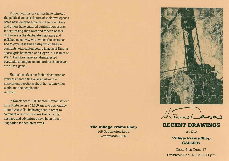 1982 - 12 December 4 The Village Frame Shop Gallery Greenwich Sydney ...