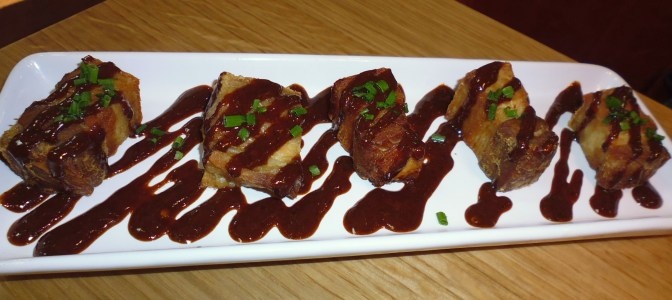 Yummy! Crispy pork belly in a honey and cinnamon sauce