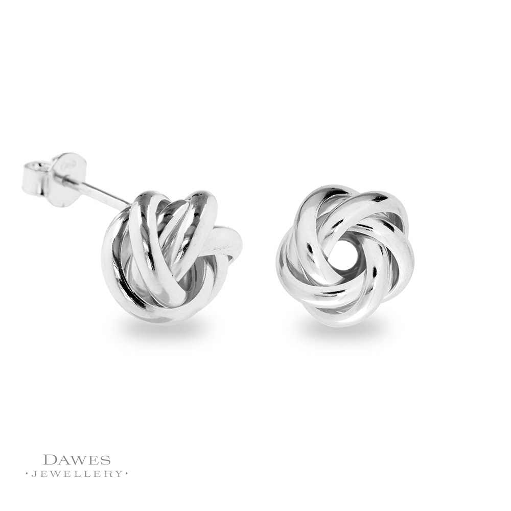 Fancy Silver Knot Stud Earrings  Dawes Jewellery