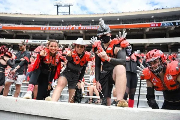 Georgia fans during the 2021 G-Day Game at Sanford Stadium in Athens, Ga., on Saturday, April 17, 2021.  (photo by Rob Davis)