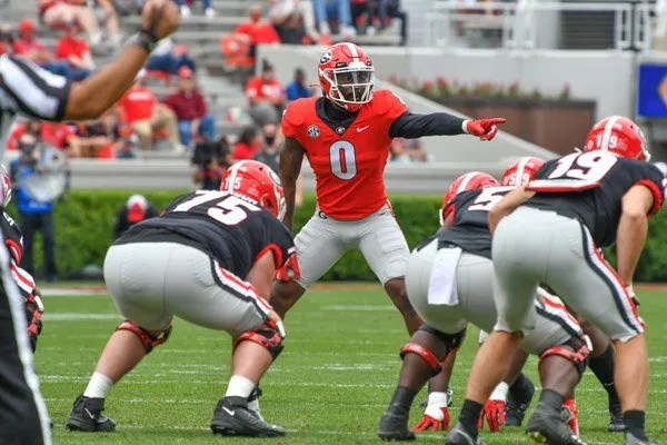 Georgia tight end Darnell Washington (0)  during the 2021 G-Day Game at Sanford Stadium in Athens, Ga., on Saturday, April 17, 2021.  (photo by Rob Davis)