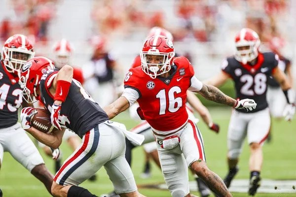 Georgia wide receiver Demetris Robertson (16) during the G-Day scrimmage on Dooley Field at Sanford Stadium in Athens, Ga., on Saturday, April 17, 2021. (Photo by Tony Walsh)