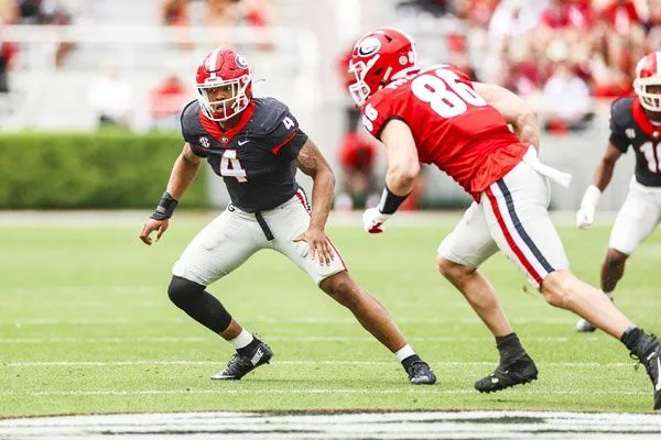 Georgia outside linebacker Nolan Smith (4) during the G-Day scrimmage on Dooley Field at Sanford Stadium in Athens, Ga., on Saturday, April 17, 2021. (Photo by Tony Walsh)