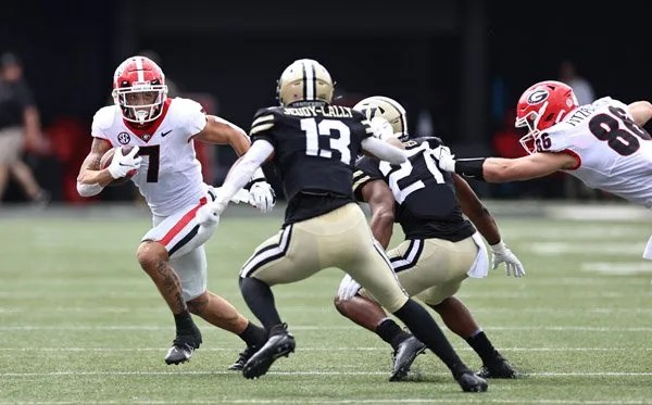 Georgia wide receiver Jermaine Burton (7) during the Bulldogs' game with Vanderbilt in Vanderbilt Stadium in Nashville, Tenn., on Saturday, Sept. 25, 2021. (Photo by Tony Walsh)