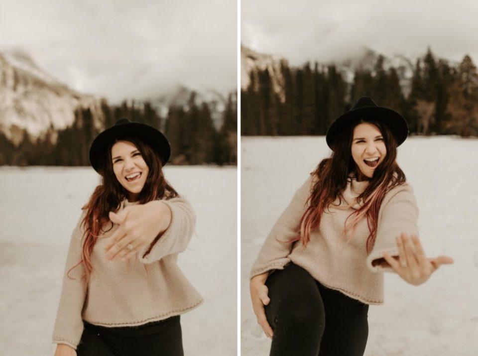 Snowy Proposal at Yosemite National Park // @dawn_photo