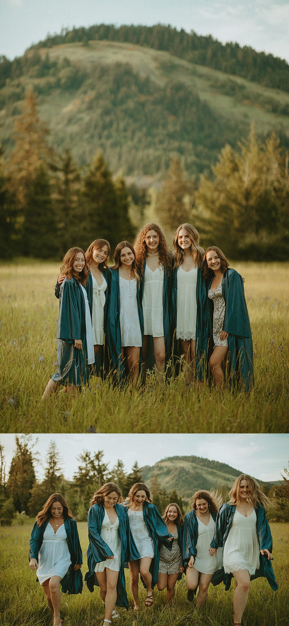 senior girls in gowns before graduation