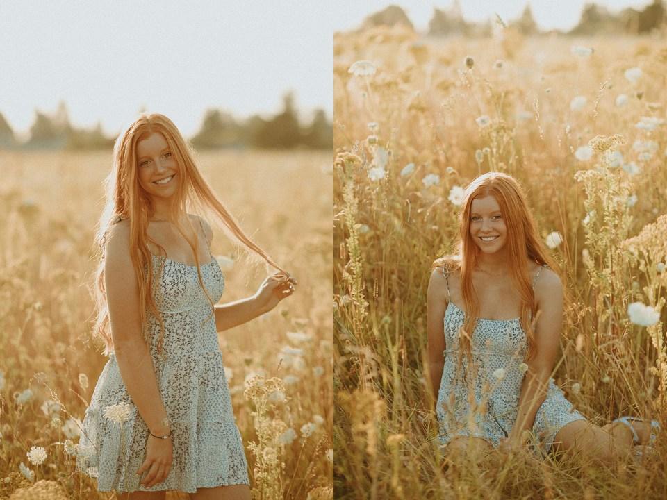 high school senior portrait in a field