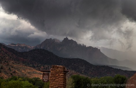 A storm approaches Zion National Park through Eagle Crags in Southern Utah