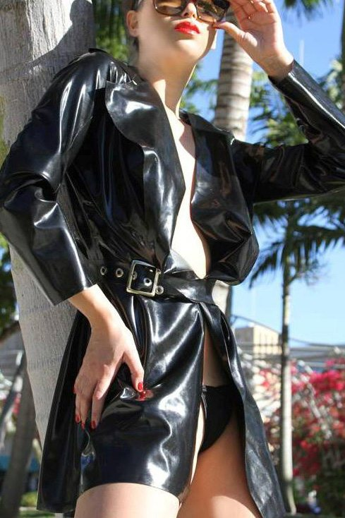 Belted Flare Coat  Dawnamatrix Latex Clothing