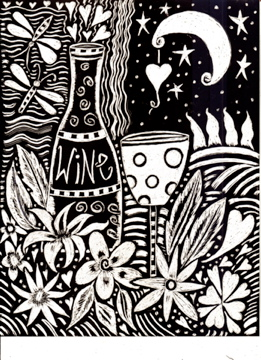Scratchboard Moonlight and Wine