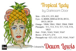 Tropical Lady copic colour printable