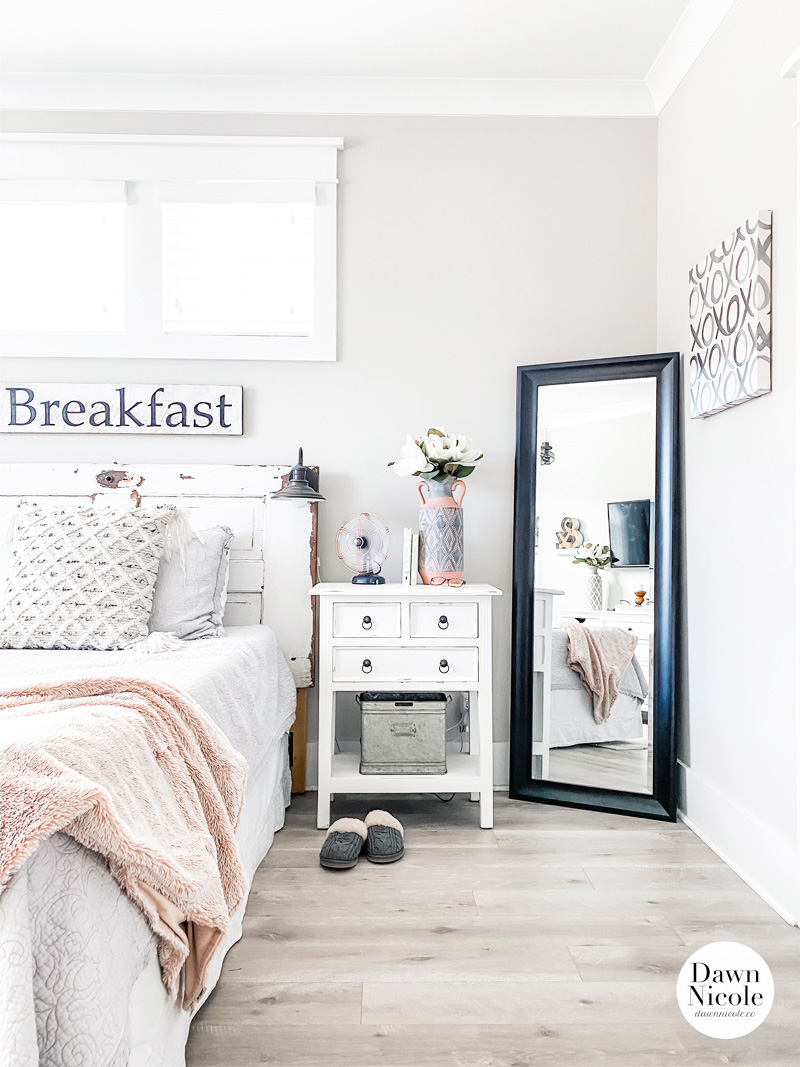 Modern Farmhouse Style Master Bedroom. All the details on how I turned our master suite into a charming, cozy, and relaxing retreat.