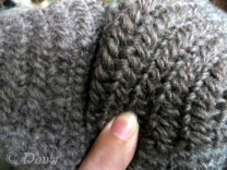 Comparing fulled and not-fulled wool naalbinding hat