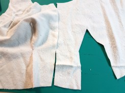Sewing the bust dart in the padding-interlining.