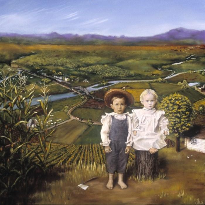 "2004, 14"" x 14"" x 1.75"", oil & collage on wood panel"