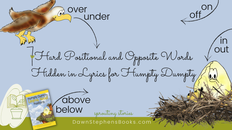 an eagle flying and sitting while demonstrating some of the 7 positional and opposite words hidden in lyrics for humpty dumpty