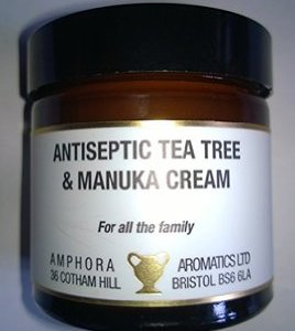 TEA TREE AND MANUKA CREAM IN A 60ML AMBER GLASS JAR BY AMPHORA AROMATICS