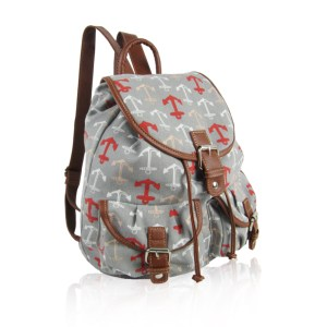 Anchor Print Retro Rucksack Gray