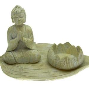 Candle Holder T-Light Buddha On Leaf 18X9.5cm. Poly resin