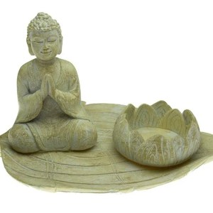 Candle Holder T-Light Buddha On Leaf 18X9.5cm. Poly resin