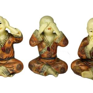 Monk Hear See Speak No Evil Ivory And Orange Colour Poly Resin 5 Inch