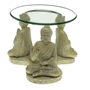 Oil Burner Three Thai Buddhas Ivory 14X13X11cm. Poly resin
