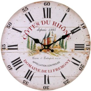 Rustic Cream Wooden Wall Clock with Côtes du rhône Print