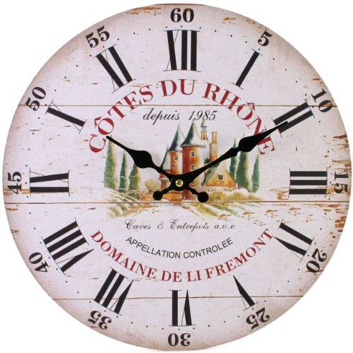 Rustic Cream Wooden Wall Clock with Côtes du rhône Print