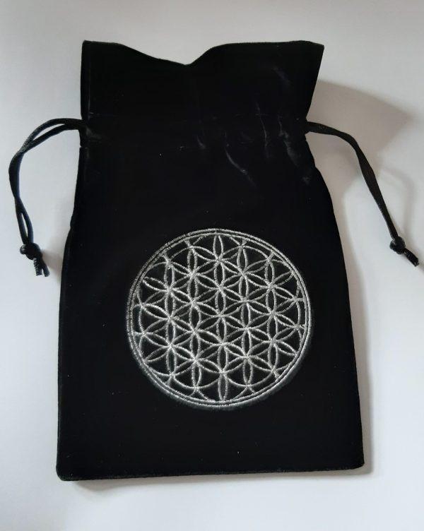 Flower Of Life Luxury Tarot Bag Embroidered Velvet 180 X 130mm