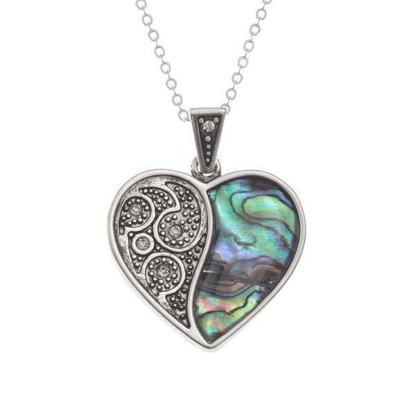 Tide Jewellery Inlaid Paua Shell & Diamante Heart Necklace in a Box