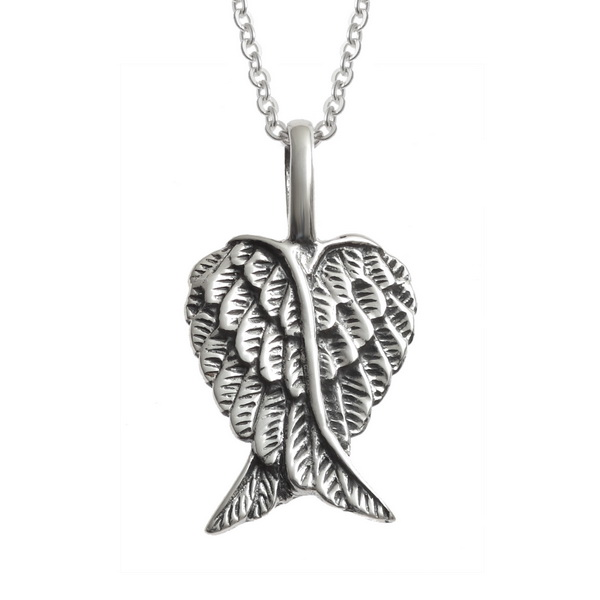 "Sterling silver Angel Wing Heart pendant. 25mm approx - Gift Boxed - 18"" Sterling Silver Chain"